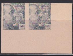 SPAIN (1939) Franco. Imperforate Pair Printed On Both Sides. Scott No 699. - Variedades & Curiosidades
