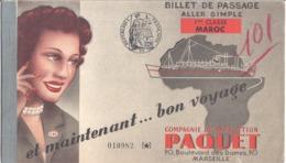 COMPAGNIE DE NAVIGATION PAQUET-N°010982-BILLET DE PASSAGE ALLER SIMPLE MARSEILLE CASABLANCA 1ere CLASSE MAROC - 1953 - Billets D'embarquement De Bateau