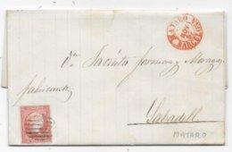 Lettre Espagne Timbre 4 Cuartos MATARO 1857 - Briefe U. Dokumente