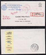 Portugal 1984 Registered Meter Cover LISBOA To HUNTINGTON BEACH USA - 1910-... République