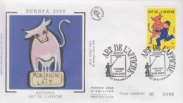Enveloppe  FDC  1er  Jour   FRANCE    ART  DE  L'  AFFICHE   EUROPA    STRASBOURG    2003 - Europa-CEPT