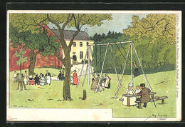 Künstler-AK Sign. Am. Lynen: Picknick Im Grünen, Kinder Auf Einer Schaukel - Illustrateurs & Photographes