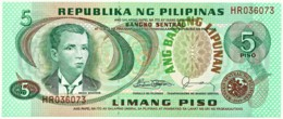 PHILIPPINES - 5 Piso - ND ( 1978 ) - Pick 160.d - Unc. - Sign. 10 - Serie HR - Seal Type 4 - Andres Bonifacio- Filipinas - Philippines