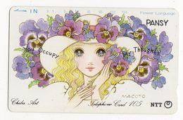 TELECARTE JAPON CHIBA ART PANSY Peinture De Macoto Takahashi Mangaka Et Illustrateur Japonais - Malerei