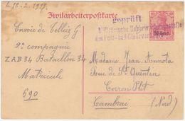 Etappe West MiNr. P6II Gestempelt Mit Zensurstempel Der PÜ 39 (R1064) - Occupation 1914-18