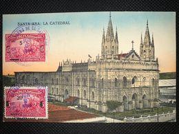 Postcard Circulated Santa Ana Church , From Santa Ana To Czechoslovakia 1923 - Salvador