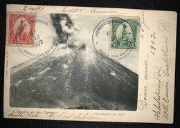 Postcard Volcan Izalco 1903, From Nueva San Salvador To Paris - Salvador