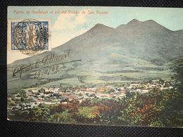 Postcard Volcan San Vicente And Guadalupe Town 1909, Postmarks San Salvador, Paris And Marseille - Salvador