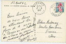 ARDECHE CP 1962 NOZIERES RECETTE DISTRIBUTION 598 HABITANTS EN 1962 - 1961-....