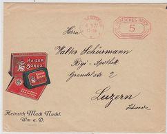 """Deutsches Reich Brief Der Fa.Heinrich Mack Nachf. Ulm """"Kaiser Borax""""mit AFS In Die Schweiz - Lettres & Documents"""