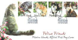 PITCAIRN 2002 Cats Feline Friends FDC - Briefmarken