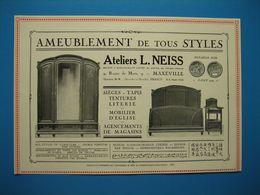(1927) Ameublement De Tous Styles - Ateliers L. NEISS - Route De Metz à Maxéville - (Médaille D'or Nancy 1909) - Vieux Papiers