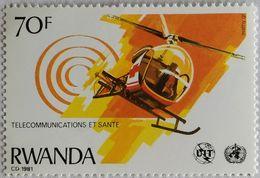 030. RAWANDA (70F) 1981 STAMP TELECOMMUNICATIONS, HELICOPTER  .MNH - 1980-89: Neufs