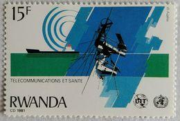 030. RAWANDA (15F) 1981 STAMP TELECOMMUNICATIONS, SHIPS  .MNH - 1980-89: Neufs