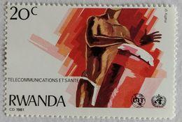030. RAWANDA (20C) 1981 STAMP TELECOMMUNICATIONS, DRUMMER .MNH - 1980-89: Neufs