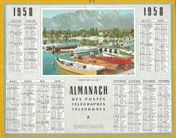 CALENDRIER ALMANACH DES POSTES TELEGRAPHES TELEPHONES OBERTHUR 1958 - CALME SUR LE LAC ( BARQUES, MAISONS, MONTAGNE ) - Kalenders