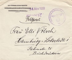 GG Frühe Post: 14.11.39 Feldpost Nach Hamburg DDPO 74 - Occupation 1938-45