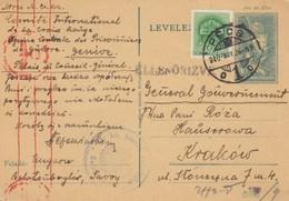 GG Ungarn: Ganzsache Rotes Kreuz Genf über Ungarn Nach Krakau - Besetzungen 1938-45