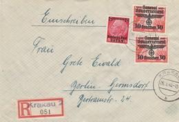 GG: Einschreiben Krakau 2 Nach Berlin, Schöne MiF - Besetzungen 1938-45
