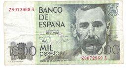 ESPAGNE -  BILLET De 1000 PESETAS -  Benito Perez GALDOS - Mardi 23 Octobre 1979 - Z 8072969 A - - Espagne