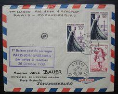 1953 1ere Liaison Postale Aérienne Paris Johannesburg Par Avion à Réaction, Cad De Vienne (Isère) - Luftpost