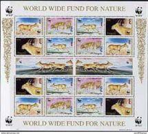 Mongolia 1995 WWF - The Saiga Perf Sheet Of 6 Containing 4 Sets Of 4 Se-tenant Blocks U/m, As SG 2497a ANIMALS - Ongebruikt