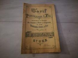 19131-M- CATALOGUE 16 PAGES 15.5CMX23CM ANNEE 1892 TARIF DES PORCELAINES A FEU M MICHON ET FILS ST UZE DROME - Publicités