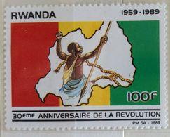 030. RWANDA (100F) 1989 STAMP REVOLUTION  .MNH - 1980-89: Neufs