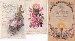 Lot 3 IMAGES PIEUSES ( 7x11  + 6,5x10 + 5,5x9 ) SOUVENIR DE COMMUNION  (Années 1880) - Imágenes Religiosas