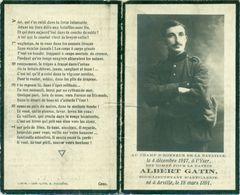 WO1 / WW1 - Doodsprentje Albert Gatin - Arville / - Gesneuvelde - Décès