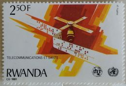 030. RWANDA (250F) 1981 STAMP TELECOMMUNICATIONS, SATELLITE  .MNH - 1980-89: Neufs