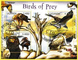 Bloc Feuillet Oblitéré De 4 T.-P.  Oiseaux De Proie Birds Of Prey Aigle Balbuzard Bateleur Vautour Busard - Ouganda 2012 - Uganda (1962-...)