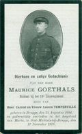 WO1 / WW1 - Doodsprentje Maurice Goethals - Brugge / Sint-Michiels-Brugge - Gesneuvelde - Décès