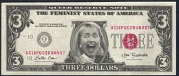 U.S.A. FANTASY NOTE NLP 3  DOLLARS  1996 RODHAM  FEMINIST STATES OF AMERICA UNC. - USA