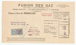FACTURE 1925 FUSION Des GAZ USINE De VERSAILLES - 7 CITÉ PARADIS PARIS - PUB GÉRARD BECUWE CUISINIERE VISSEAUX LYON - Electricity & Gas