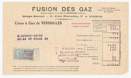 FACTURE 1924 FUSION Des GAZ USINE De VERSAILLES - 7 CITÉ PARADIS PARIS - PUB GÉRARD BECUWE CUISINIERE VISSEAUX LYON - Electricity & Gas