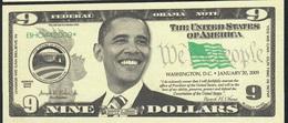 U.S.A. FANTASY NOTE NLP 9  DOLLARS  2009 BARACK OBAMA  UNC. - USA