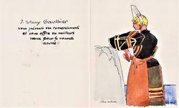 JOSEPH STANY GAUTHIER - BRETAGNE, FINISTERE - Carte Voeux 2 Volets 12.5 X 15.2, Illustrée D'une Bigoudène Très Bon état - Autres Collections