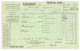FACTURE 1925 ÉLECTRICITÉ Sté VERSAILLAISE De TRAMWAYS ÉLECTRIQUES VERSAILLES - PUB FER à REPASSER THOMSON AU DOS - Electricité & Gaz