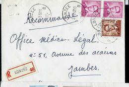 Doc. De LONZEE - B B - Du 21/03/59 En Rec. - Marcophilie