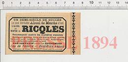 Presse 1894 Publicité De Ricqlès Flacon Alcool De Menthe 229ZK - Old Paper