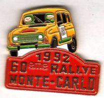 Pin's  Rallye DE Monte Carlo 1992  Renault 4L  Eaf  AMC - Rallye