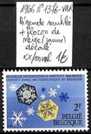 [838983]TB//**/Mnh-Belgique 1966 - N° 1376-VAR, Légende Mutilée + Flocon De Neige (jaune) Décalé, Climat & Météorologie - Belgium