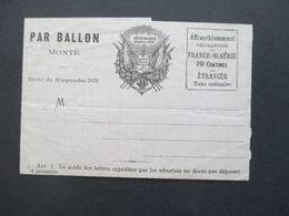Frankreich Par Ballon Monté 26 Septembre 1870 Ballonpost Faltbrief Ungebraucht Besetztes Paris! - 1870 Siège De Paris