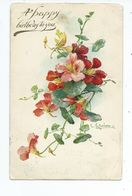 Postcard Birthday With Flowers Nasturtiums Artist Signed With Oxton Birkenhead Squared Circle Posted 1906 Crisp Cancel - Compleanni