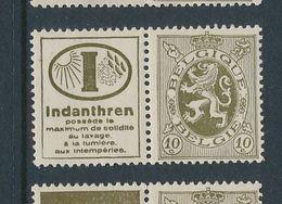 BELGIUM COB PU10 MNH - Publicités