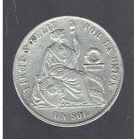 PEROU 1867 UN SOL EN ARGENT REPUBLICA PERUANA LIMA 9 DECIMOS FINO Y. B - Pérou