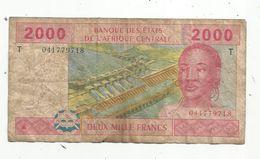Billet , Banque Des états De L'Afrique Centrale , 2000 ,deux Mille Francs , 2002 , Lettre T , Congo ,2 Scans - États D'Afrique Centrale