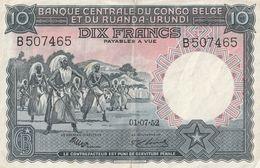10 FRANK CENTRALE BANK VAN BELGISCH CONGO EN RUANDA URUNDI.01.07.52 - Democratic Republic Of The Congo & Zaire