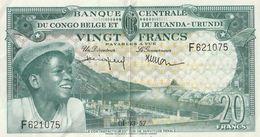 20 FRANK CENTRALE BANK VAN BELGISCH CONGO EN RUANDA URUNDI.01.03.57 - Democratic Republic Of The Congo & Zaire